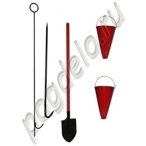Комплект для закрытого щита (лом легкий, багор разборный, лопата, 2 конус-ведра)