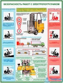 """electric_loader_bez_1_221x286 Комплект плакатов """"Безопасность работ с электропогрузчиками"""": купить в Москве   цена от 395 руб. в магазине «Техарсенал»"""