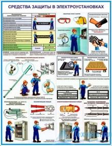 elektroust_protect_19_221x286 Комплект плакатов Средства защиты в электроустановках: купить в Москве | цена от 595 руб. в магазине «Техарсенал»