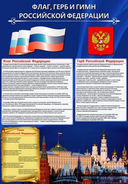 Плакат Флаг, Герб и Гимн Российской Федерации